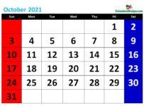 printable October calendar 2021 cute