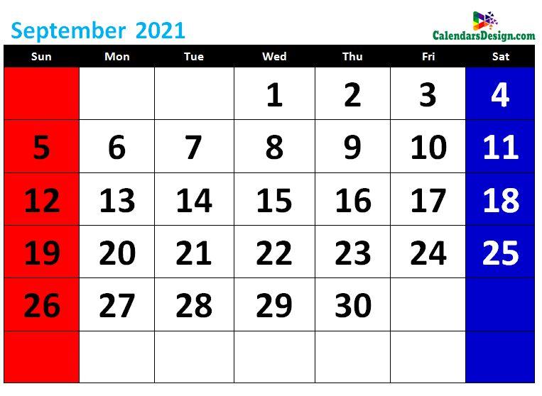 printable September calendar 2021 cute