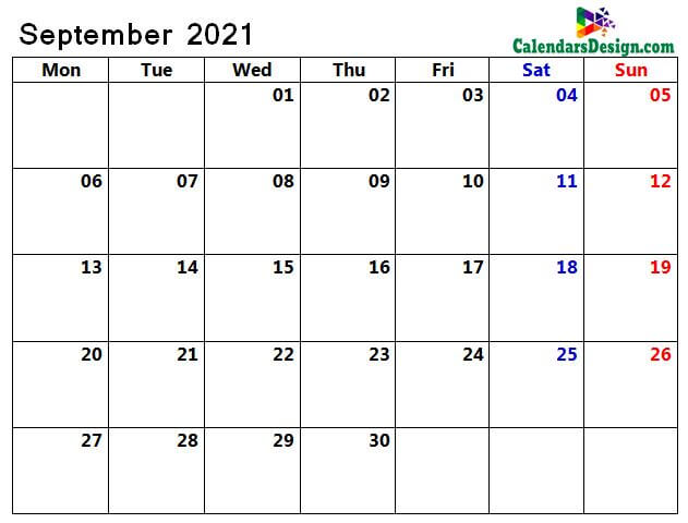 sept 2021 blank calendar