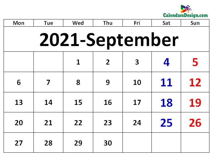 sept 2021 calendar excel