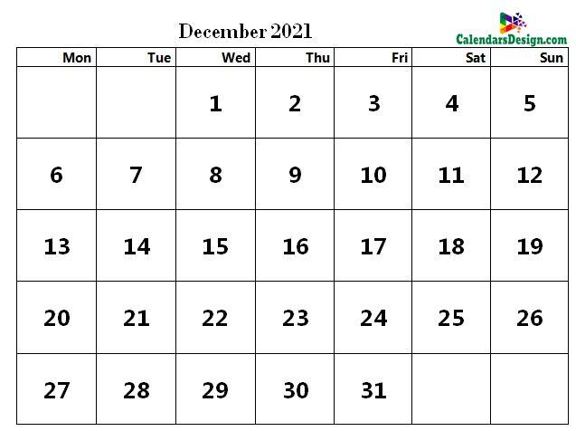 word calendar December 2021
