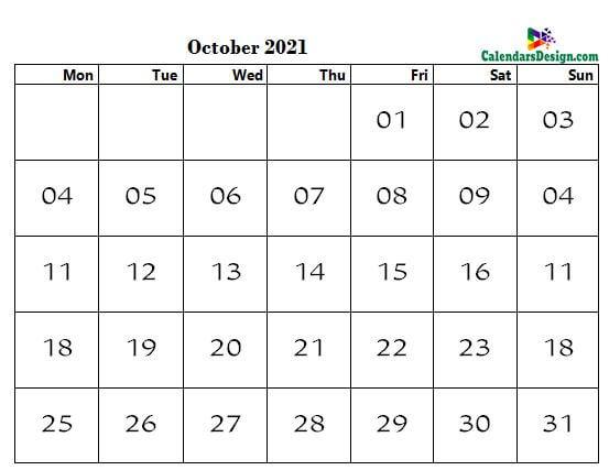 word calendar October 2021