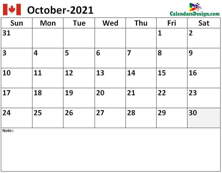 2021 Oct Calendar Canada