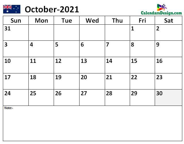 2021 October Australia Calendar