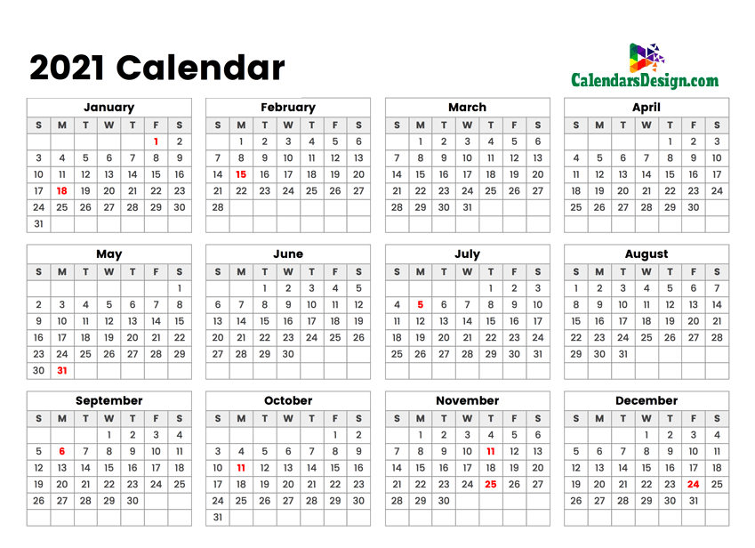 2021 year 12 month calendar