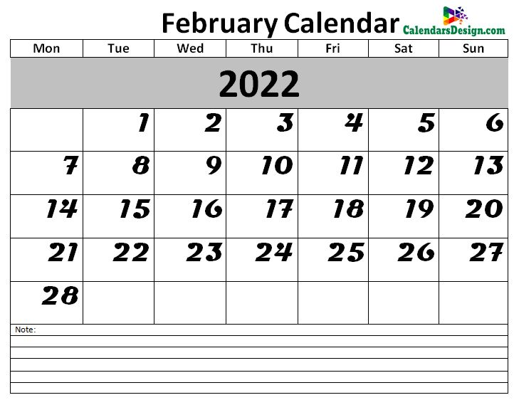 2022 Calendar February Excel Templates