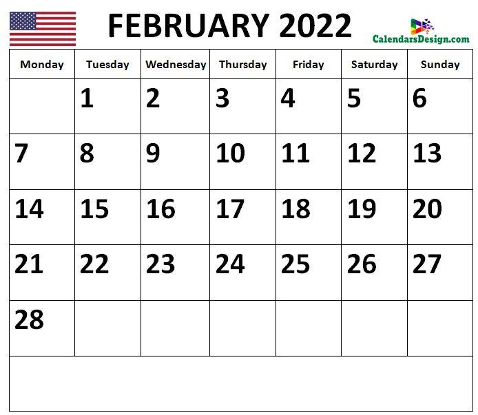 2022 February Calendar US