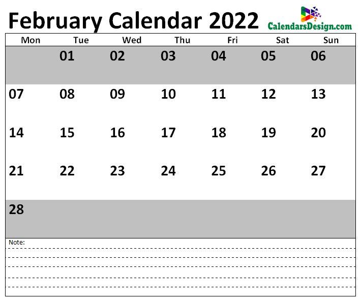 2022 February US Calendar