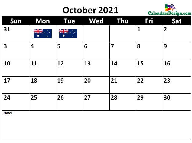 Australia October 2021 calendar
