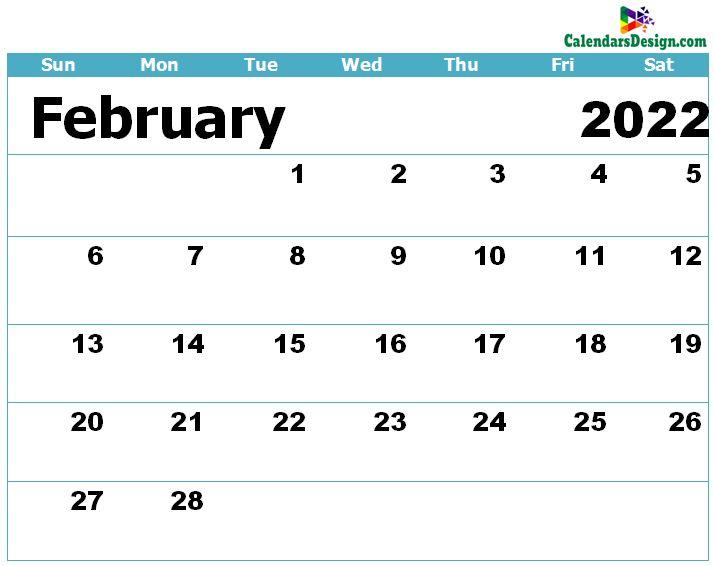 Calendar for February 2022 Excel to Print