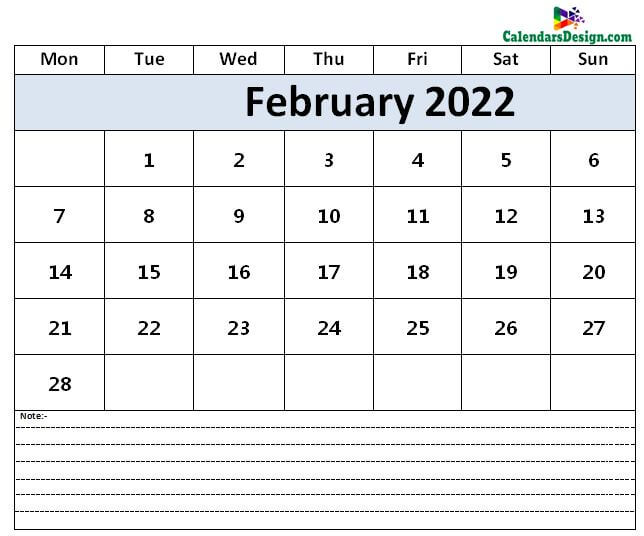 Calendar for February 2022