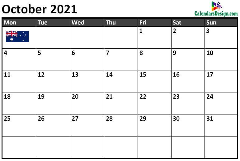Calendar for October 2021 Australia