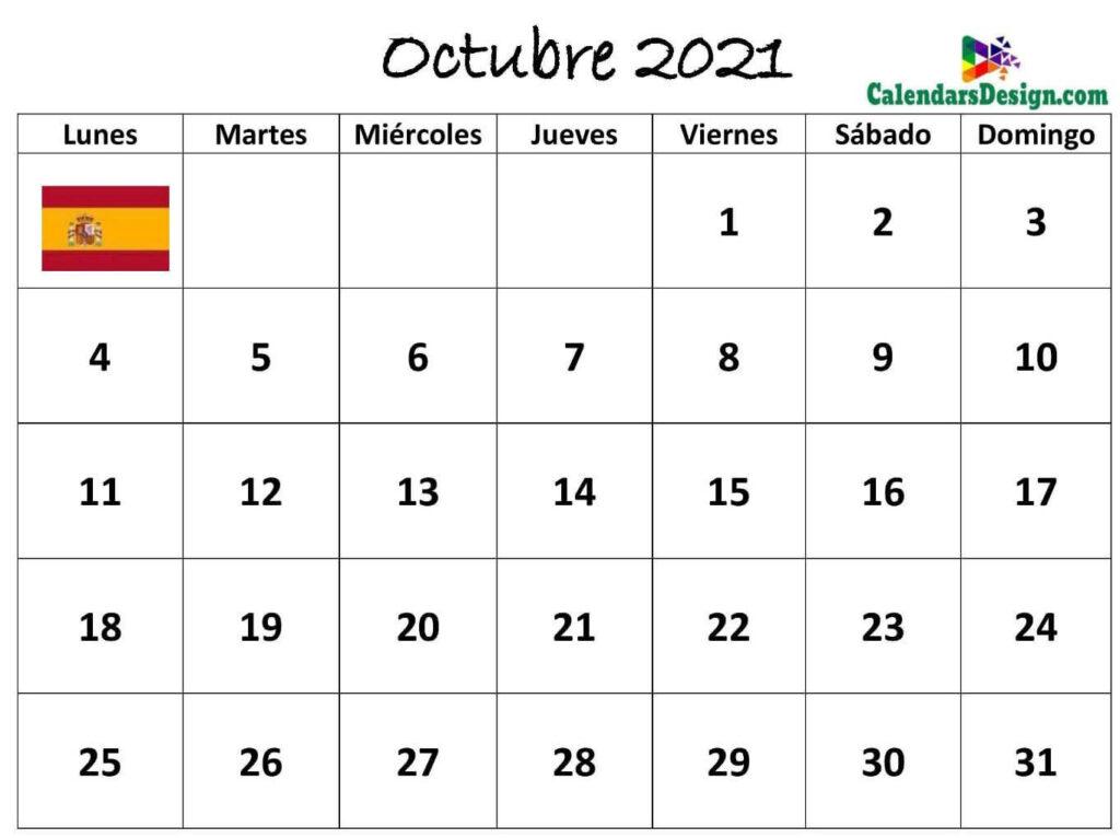 Calendario Octubre 2021 Español