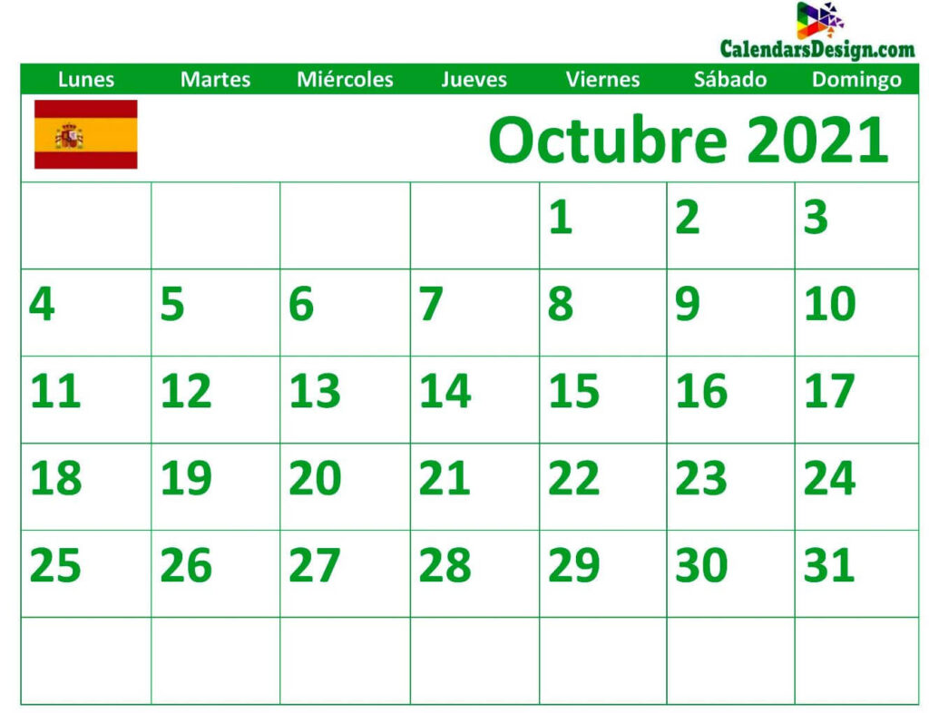 Calendario mensual octubre 2021 gratis