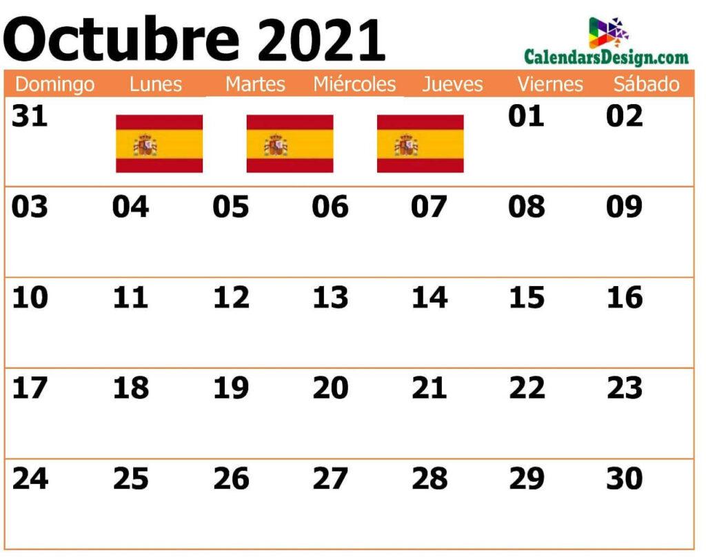 Calendario octubre 2021 png