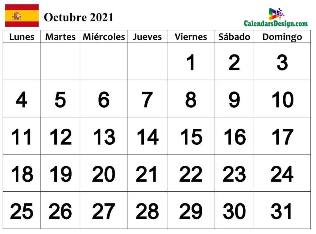 Calendario para octubre de 2021 Word