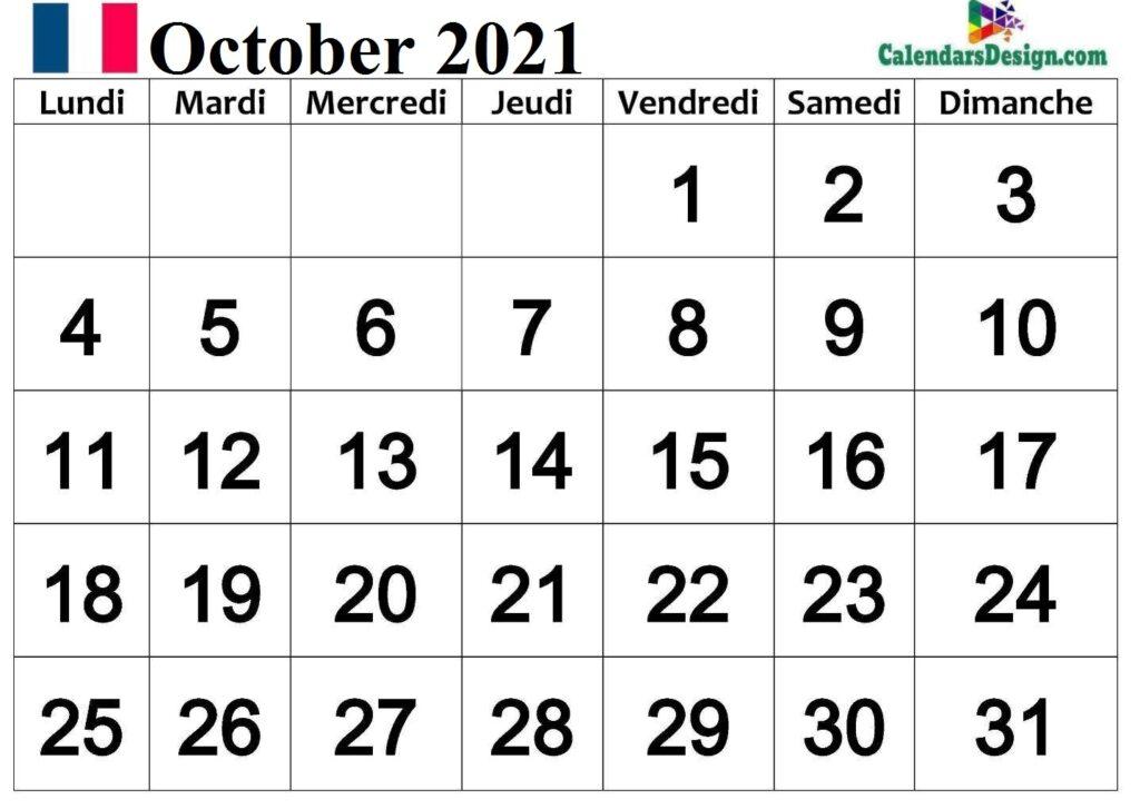 Calendrier 2021 Octobre Français
