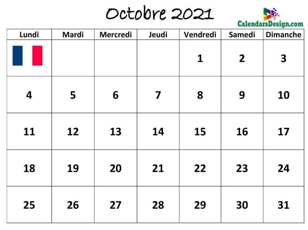 Calendrier Octobre 2021 Français