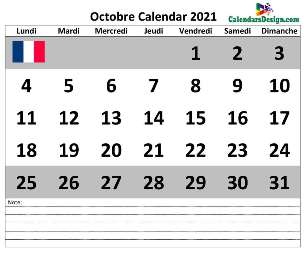 Calendrier d'octobre 2021 avec notes