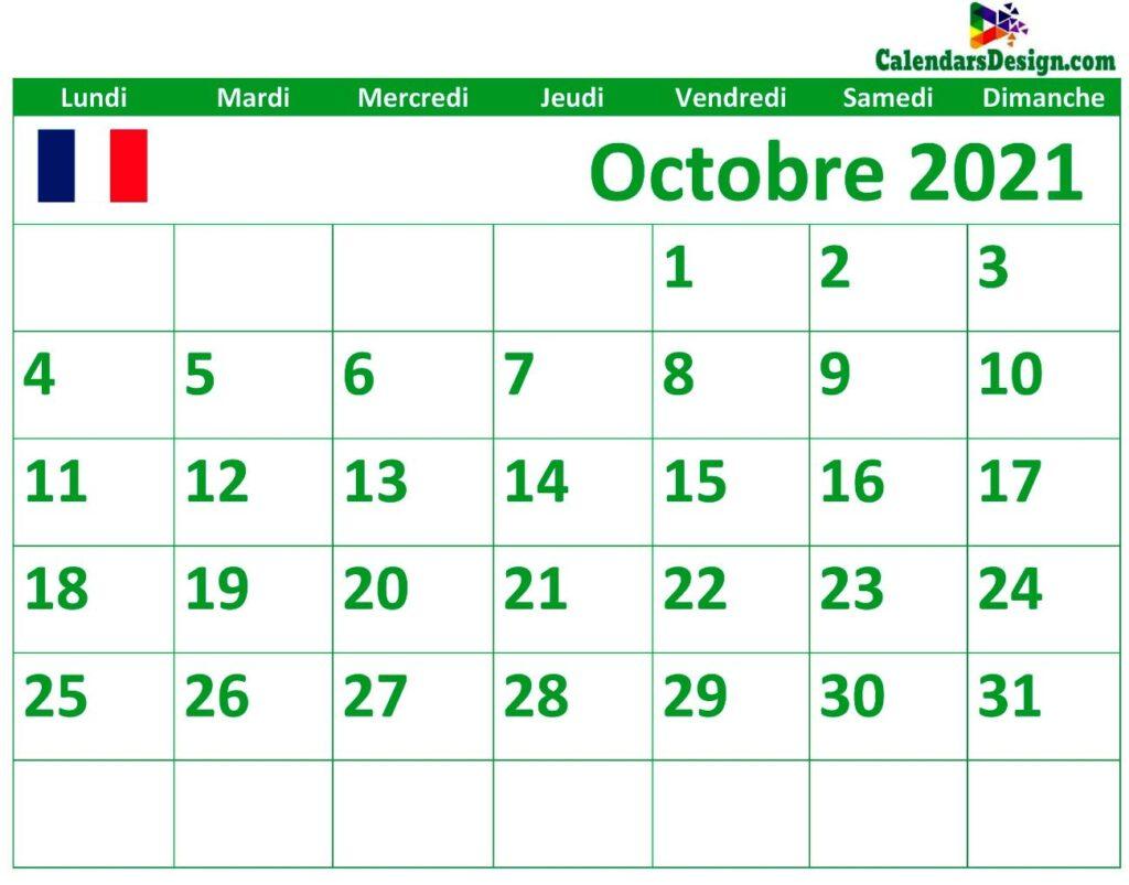 Calendrier d'octobre 2021 imprimable en français