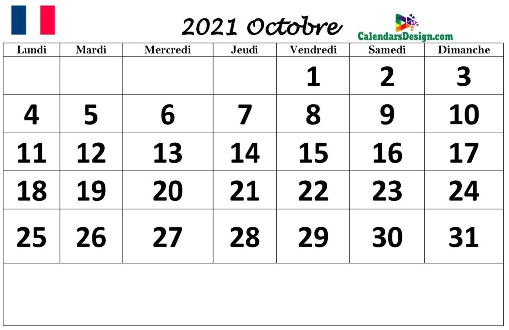 Calendrier d'octobre 2021 imprimable gratuit