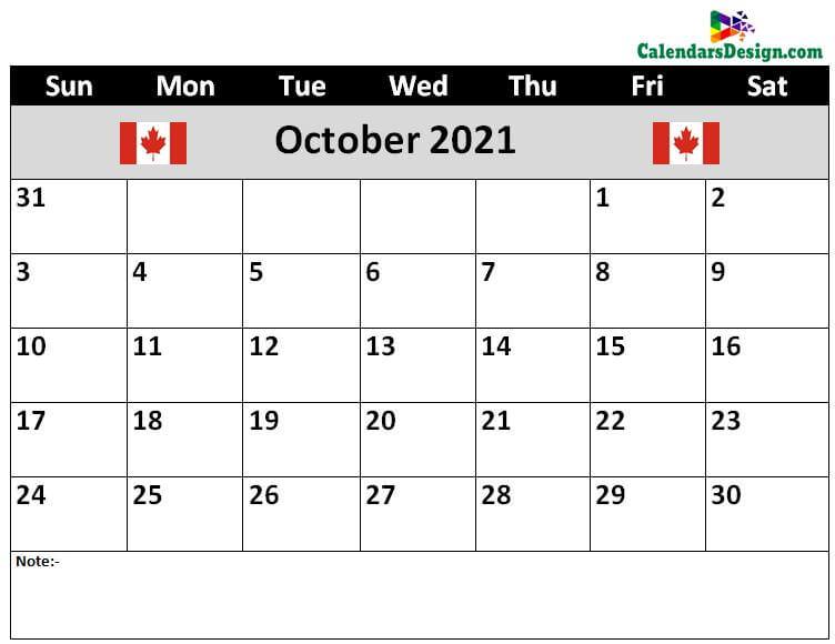 Canada October 2021 Calendar