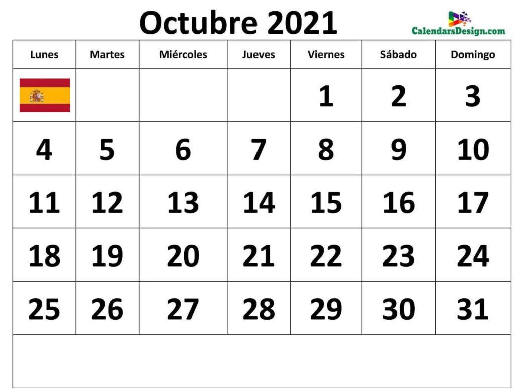 Descargar Calendario Octubre 2021