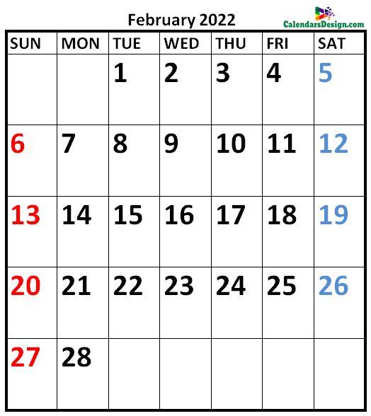 February 2022 Calendar A4 Size