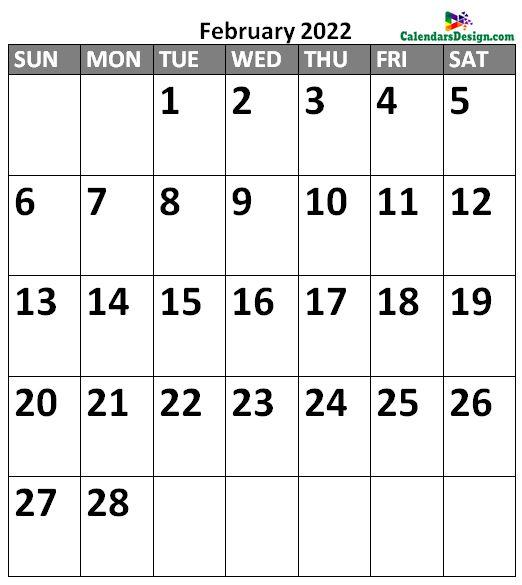 February 2022 Calendar Portrait