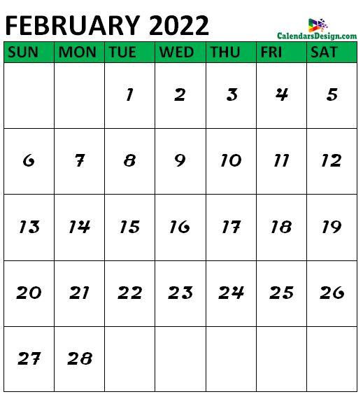 February 2022 Calendar Vertical