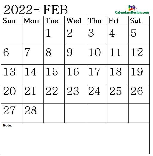 February 2022 Calendar letter