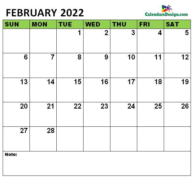 February 2022 Calendar notes