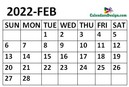 February 2022 Calendar small size