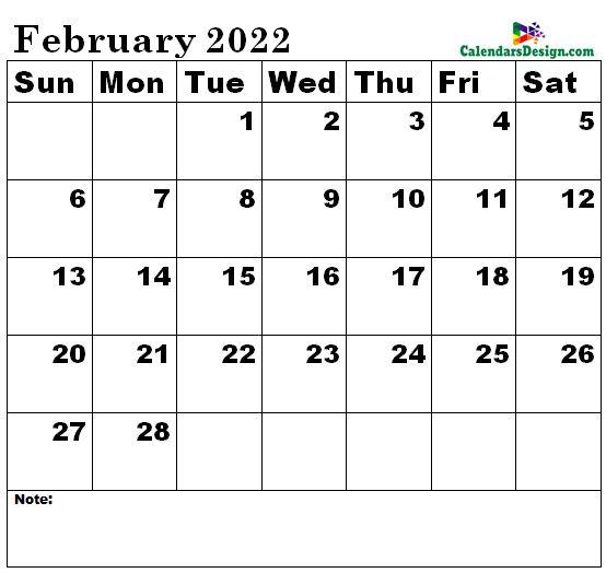 February 2022 Calendar xls