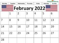 February 2022 USA Calendar