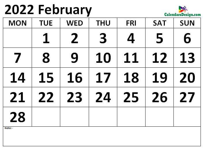 February 2022 calendar Download