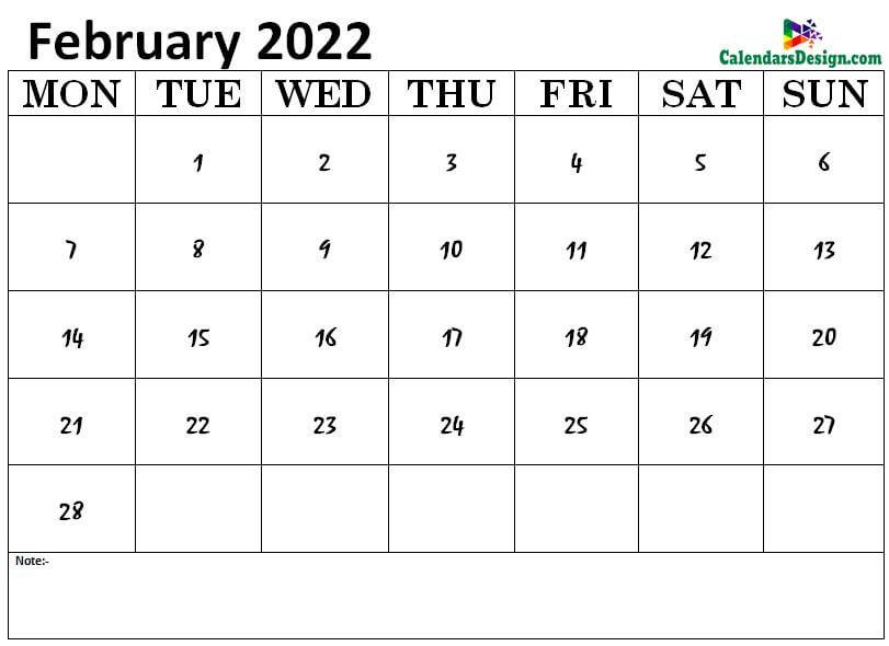 February 2022 calendar img