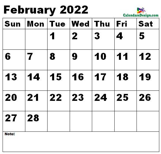 February 2022 calendar medium size