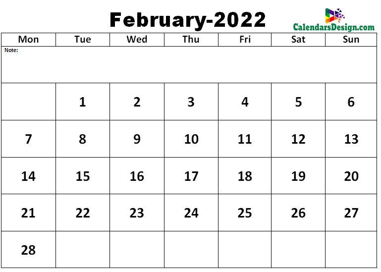 February 2022 excel calendar template