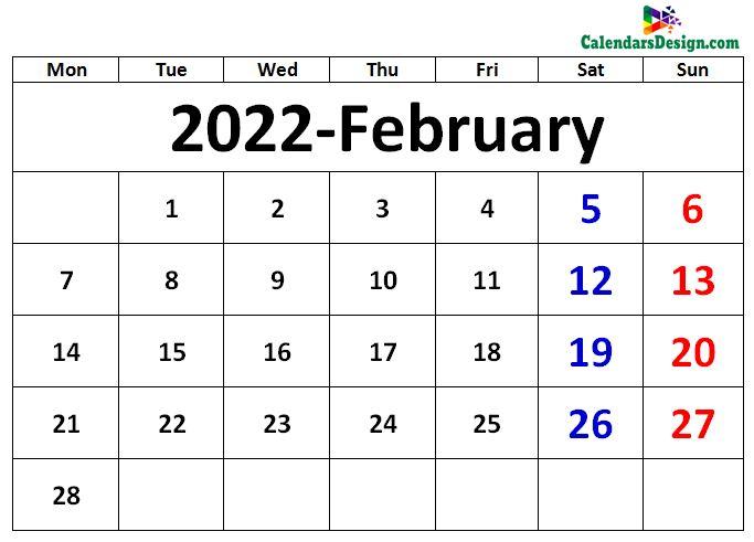 February 2022 excel calendar