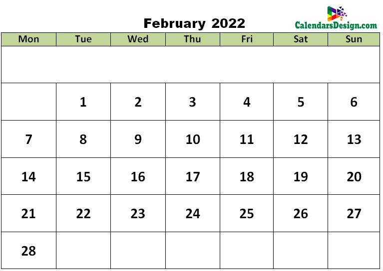 February 2022 excel template
