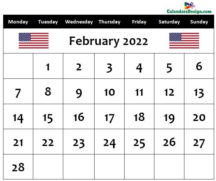February 2022 us calendar