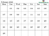 February Calendar 2022 PDF