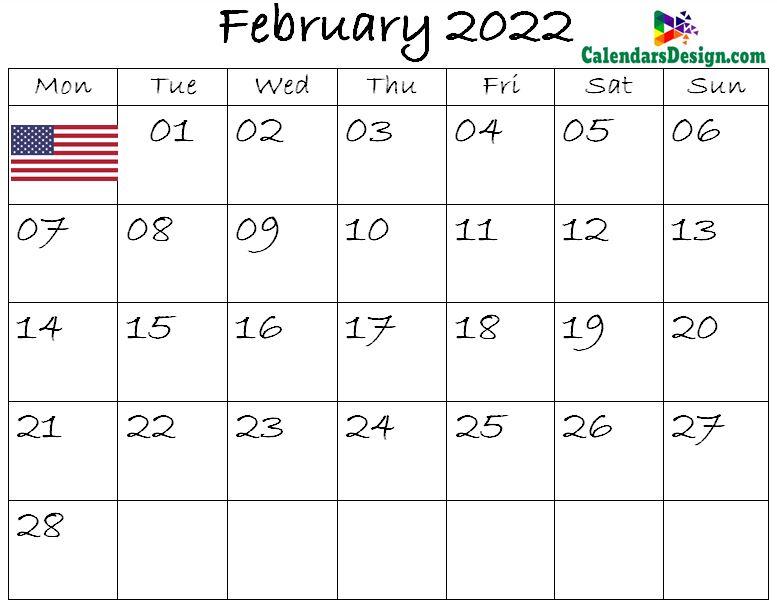 February Calendar 2022 USA
