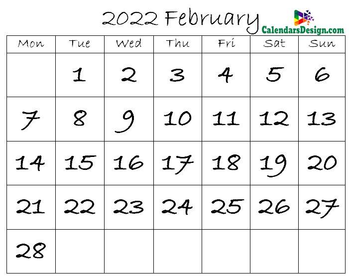 February Calendar 2022 in Excel Format