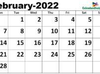 February calendar 2022 excel calendar