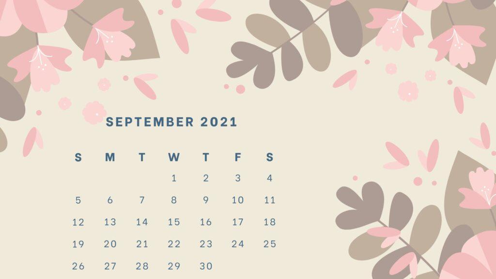 Floral September 2021 Calendar Printable