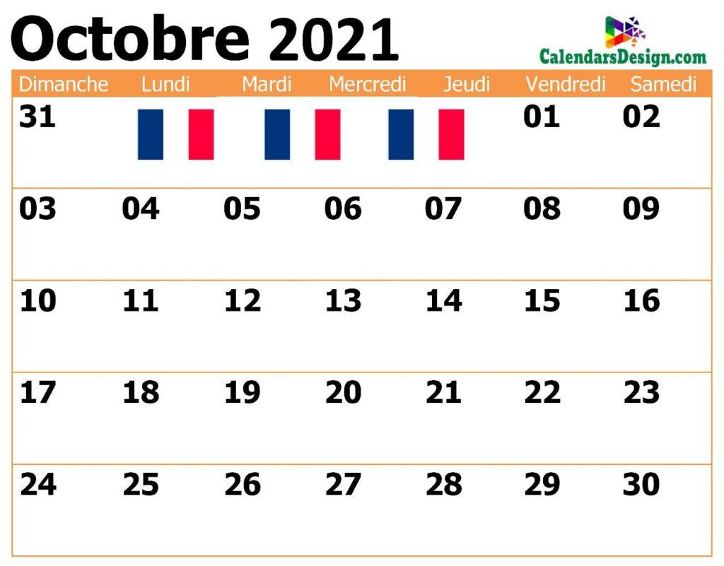 Modèle de calendrier français d'octobre 2021