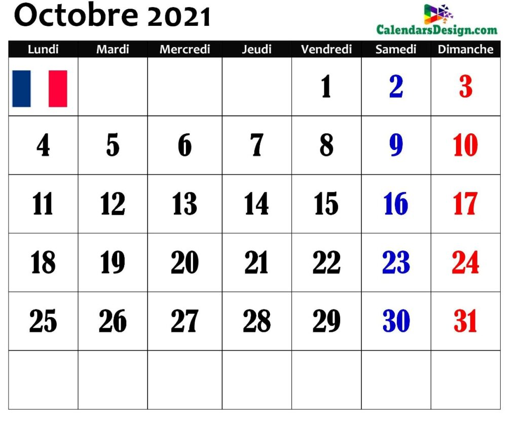 Modèles vierges de calendrier octobre 2021