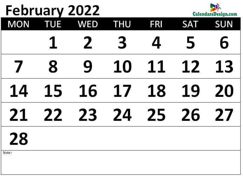 Monthly February 2022 calendar free